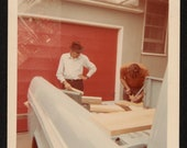 Vintage Photo Doing Projects with Dad 1960's, Original Found Photo, Vernacular Photography