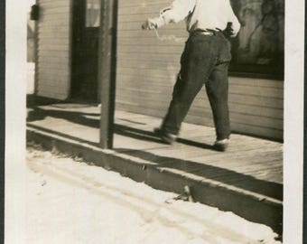 Photo of Man From Behind Walking on Boardwalk, 1930's Original Found Photo, Vernacular Photography