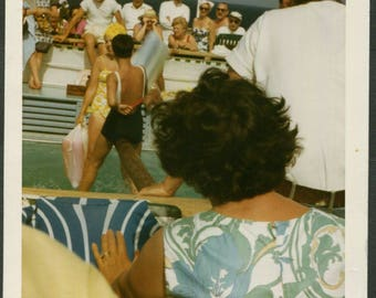 Vintage Photo The Balloon Game Crowds Watching on Cruise Ship 1960's, Original Found Photo