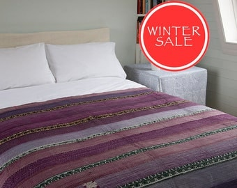 WINTER SALE - Kantha Throw - Purple and lilac. Reverse multicoloured - Unique, one of a kind.