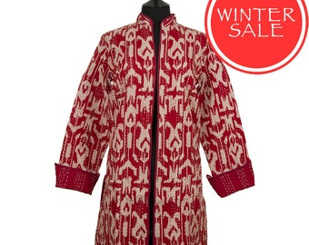 WINTER SALE - IKAT Jacket - Small size - Red and White