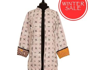 WINTER SALE - Medium size - Long Kantha Jacket - Off white with black. Reverse ochre.