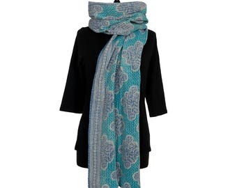 KANTHA SCARF - Turquoise, Blue and Off White. Reverse Black, Red and Green - Unique, one of a kind