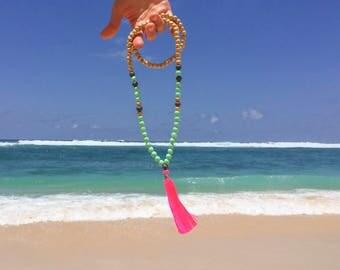 Pink Beaded Tassel Necklace - Pastel Mint Neon Mala Necklace - Pink Tassel Necklace - Long Bohemian Vibes Necklace - Boho Tassel Jewelry