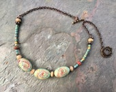 Colorful Beaded Necklace, Spring Summer Jewelry, Unusual Artisan Necklace, Handmade Boho Necklace, Ceramic Beaded Copper Chain Necklace,