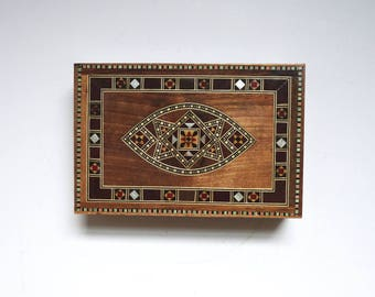 Inlaid Wood Jewelry Box, Small Box, Inlaid, Marquetry, Trinket Box, Small Box, Wooden Box, Inlay, India, Middle East, Middle Eastern
