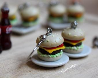 Hamburger Earrings - Fimo Food