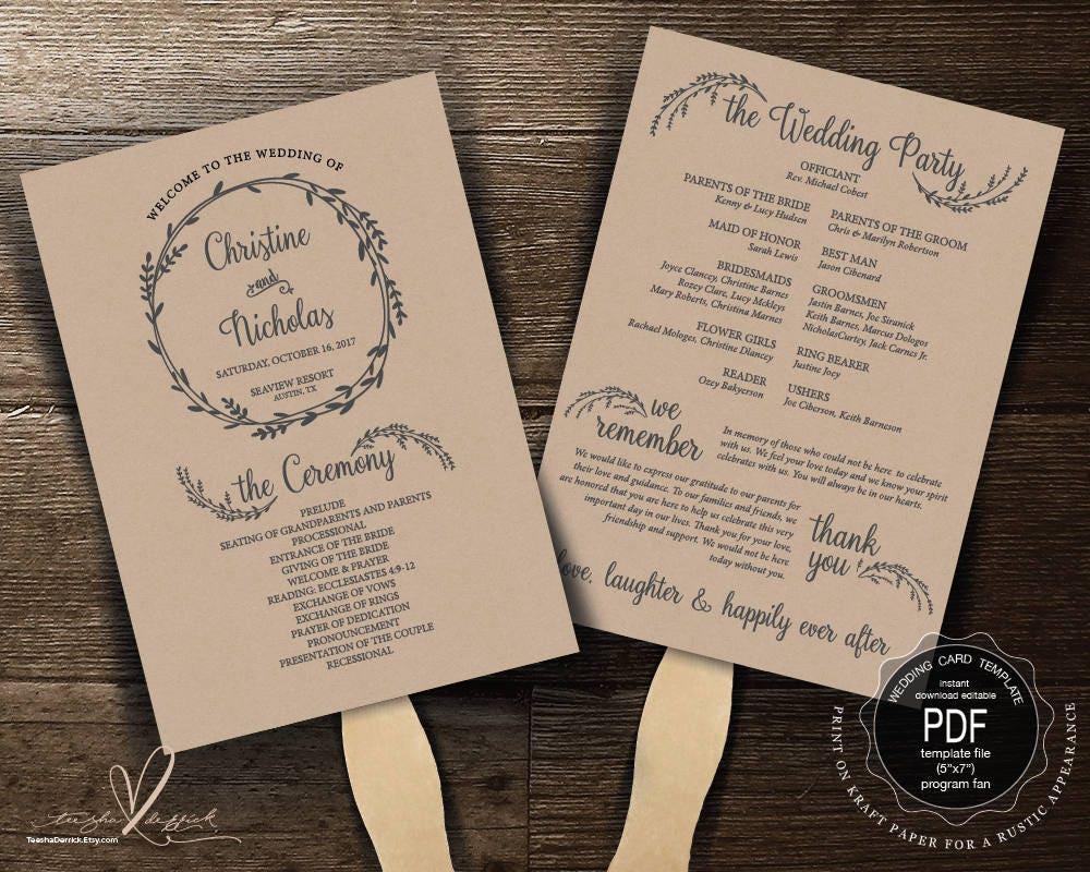 Wedding Program Fan Pdf Template Instant Download Editable