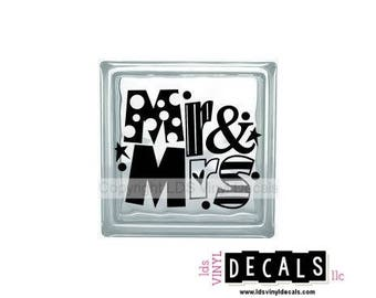 Mr. & Mrs. (dots) - Wedding and Anniversary Vinyl Lettering for Glass Blocks