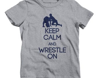 Boys Youth Keep Calm Wrestle On T-Shirt Wrestling Shirts Wrestler Tee