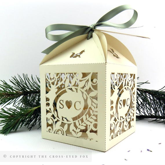 Extra Large Wedding Gift Box : Rustic wedding cupcake box Woodland wedding favor box Laser
