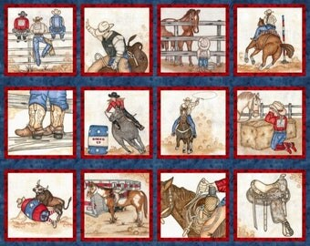 Rodeo Fabric, Cowboy Fabric, Cowgirl fabric - Rodeo Up by Tana Mueller for Blank Quilting  8550 77 - Priced by the 35-Inch Panel