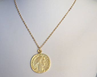 Gold coin necklace etsy gold coin necklace greece gold coin necklace gold coin medallion medallion necklace long gold coin necklace aloadofball Image collections
