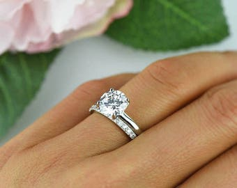 2 ctw Classic Bridal Set, Round Solitaire Ring, Half Eternity Wedding Set, Man Made Diamond Simulant, Engagement Ring, Sterling Silver