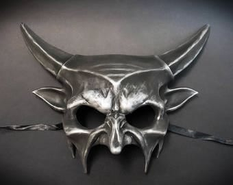 Devil Horns Halloween Haunted House Props Animal Masquerade Mask Silver