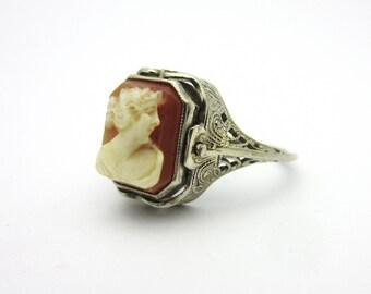 Art Deco Cameo and Garnet Glass Flip Ring 14k White Gold Sz 6.5 Filigree Reversible