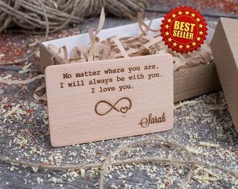 Wood Wallet Insert Card, Beech Custom Engraved Insert card, Personalized Wooden infinity love insert card, boyfriend gift, wood wedding tag