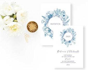 Floral Wedding dinner invitation - Wedding dinner Invitation - Flowers Wedding Invitation - Dinner Invitation - Vintage Wedding - Botanical