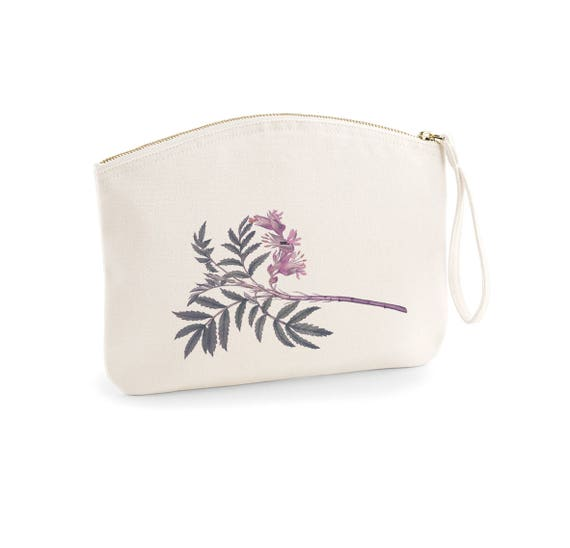 Pouch, Purple Lily, organic cotton, vintage pouch, gift coworker, gift sister, make-up case.