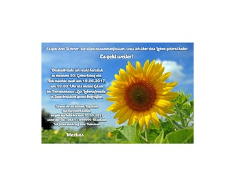Invitation cards / invitations birthday sunflowers