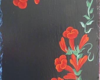 Hand Painted TRUMPET VINE Slate