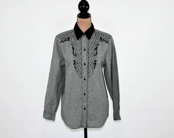 Embroidered Shirt Long Sleeve Button Up Velvet Collar Western Romantic Womens Tops Cotton Blouse Gray Black Medium Large Womens Clothing