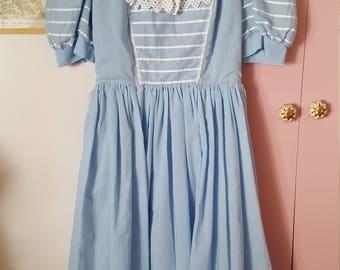 "1980s German light blue dress ""Alice in Wonderland"""