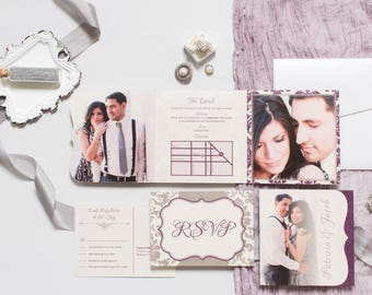 5x5 Elegant Damask Die Cut Tri Fold Wedding Invitation in Purple and Silver and Postcard RSVPs & Envelopes