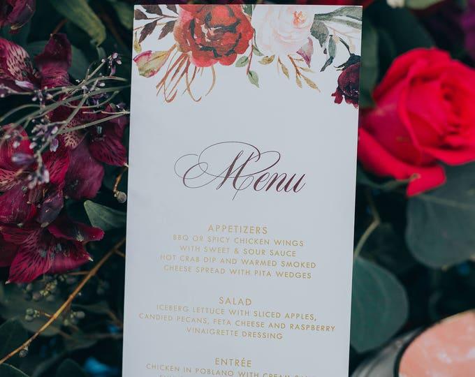 4x8 Metallic Gold, Burgundy, Blush Pink Floral Flowers Printed Wedding Menu