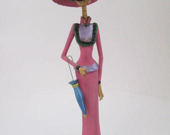 BEAUTIFUL CATRINA with umbrella ethnic  day of the dead mexican folk art 16""