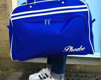 Weekend Bag Blue with Name Retro Styling Holdall Great for a Weekend Away Girls Sleepover Bag Children's Sleepover Bag Red Black Blue