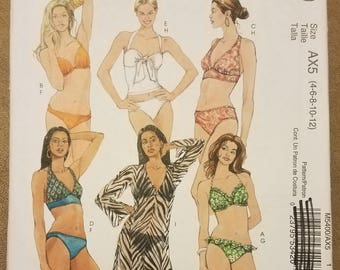 McCall's 5400 - Misses Two-Piece Bathing Suit and Cover-Up Pattern - Bikini Pattern - Sizes 4, 6, 8, 10, 12 - Ladies - Women