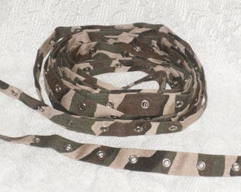 Camouflage Trim Tape 4 1/2 yds Khaki Camo Cotton Twill Eyelet