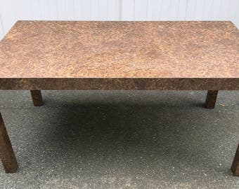 Vintage Burl Wood Laminate Parsons Style Dining Table