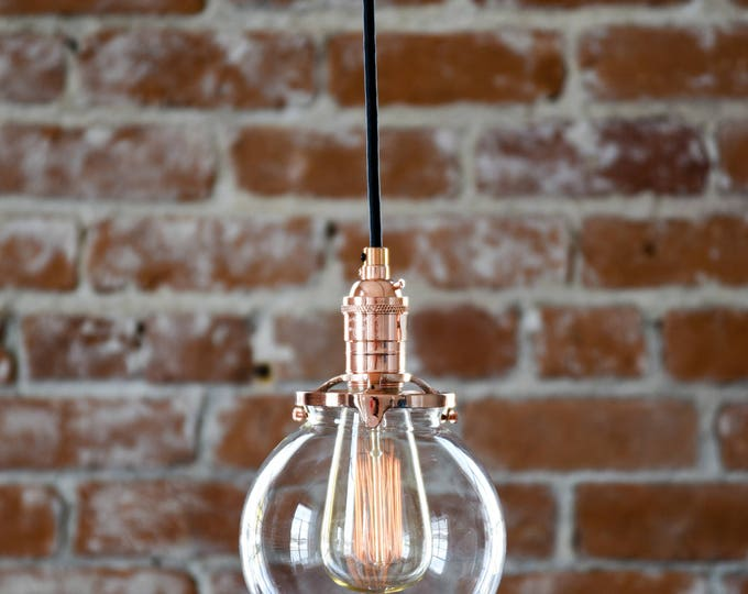 "Free Shipping! Pendant Lighting Copper - 6"" Clear Glass Globe - Cloth Wire - Ceiling Canopy Mount - Edison Bulb Compatible UL Listed"