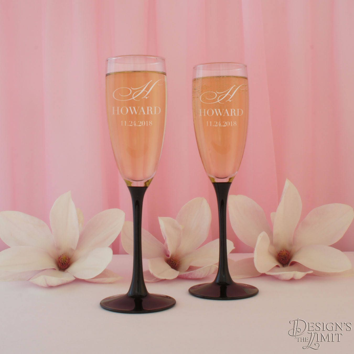 Black Tie Affair Personalized Wedding Champagne Toasting Flutes with ...