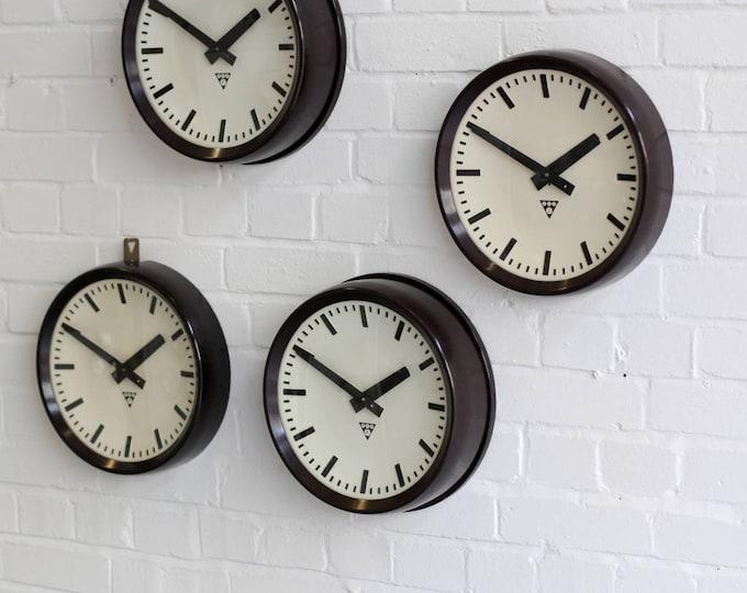 Mid Century Bakelite Clocks By Pragotron Circa 1950s