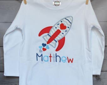Personalized Valentine's Rocket Ship with Hearts  Applique Shirt or Onesie Girl or Boy
