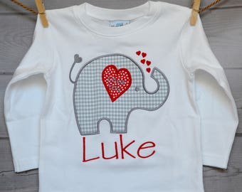 Personalized Valentine's Elephant Heart Applique Shirt or Onesie Girl or Boy