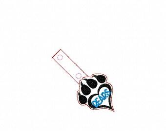 Bears Paw Print- In The Hoop - Snap/Rivet Key Fob - DIGITAL EMBROIDERY DESIGN