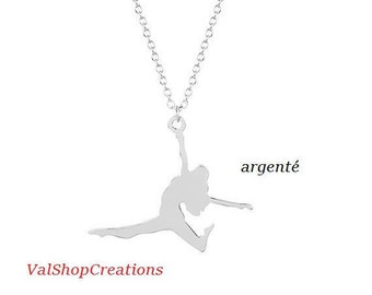Silver ballerina dancer necklace