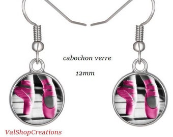 Ballerina slipper pink glass cabochon earrings