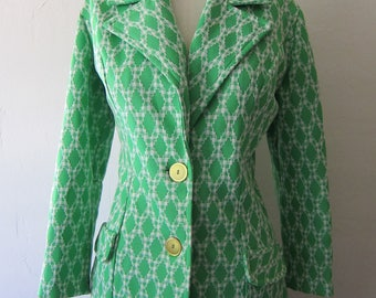 Vintage 70s Jacket / 1970s Womens Jacket / Polyester Wide Collar Jacket / Small S Medium M