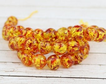 10 mm Synthetic amber beads • Speckled orange amber • Yellow beads • Beads supply • Round synthetic amber beads