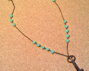 Antique Key Seafoam Glass Beads Necklace