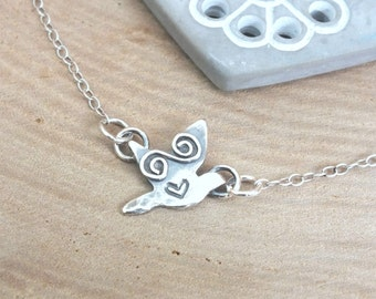 Sterling Silver Bird Necklace, Flying Bird Necklace, Swallow Necklace, Swallow Pendant, Bird Charm, Nature
