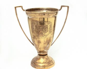 Vintage Loving Cup, Engraved Coat of Arms Trophy Vintage Award Large Brass Trophy Silverplate Brass Loving Cup Heraldic Trophy Library Decor