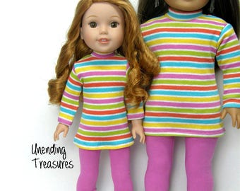 18 inch doll clothes made to fit like american girl doll clothes multi striped turtleneck tunic and rose pink leggings