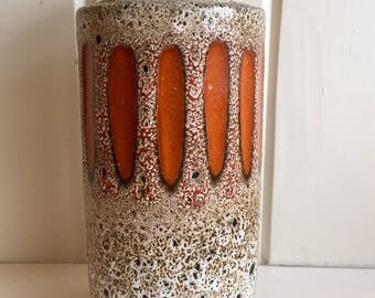 West German Fat Lava Ceramic Vase // Scheurich / Fat Lava 203 - 22 / Orange
