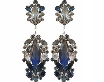 Blue Navy Gray Earrings, Dark Blue Chandeliers, Gray Blue Statement Earrings, Blue Long Earrings, Crystal Navy Gray Earrings